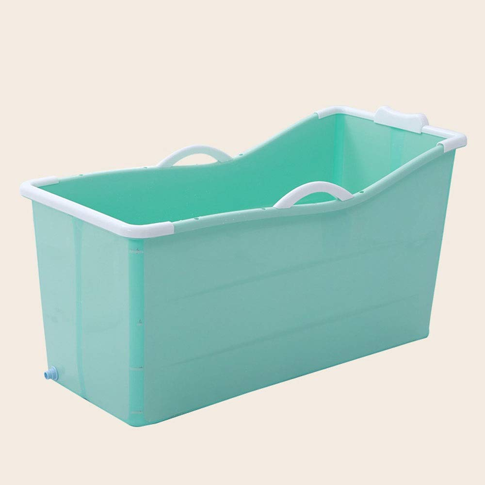 Green No cover A - Z ZA Adult Folding Bathtub, Plastic Bath Barrel, Household Large Portable Tub, Plastic Tub, Optional with or Without Cover,2 colors (color   Green, Edition   With cover)