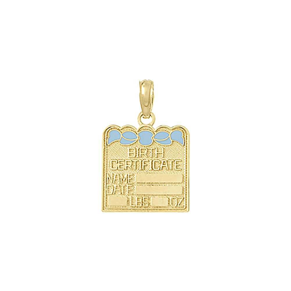 14k Yellow Gold Novelty Charm Pendant, Small Birth Certificate with Light Blue Enamel Bow