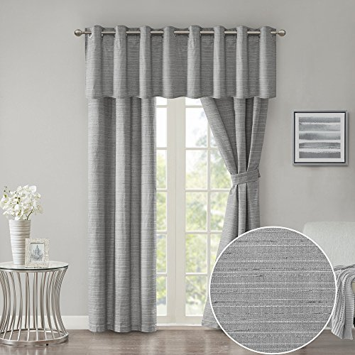 Room Darkening Window Curtains + Window Valance 95 inch Length Window Panel Grey - Window Treatment 5 Piece Set Grommet Drapes - Grasscloth Energy Efficient - incl Window Panels Tie Backs Valance