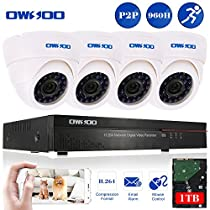 OWSOO 4CH 960H/D1 1TB Hard Drive DVR with 4PCS Night Vision Built-in Waterproof IR LED Indoor 800TVL IR Cameras Surveillance CCTV Security Camera System - White