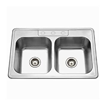 Houzer 3322 9bs3 1 Glowtone Series Topmount Stainless Steel 50 50 Double Bowl
