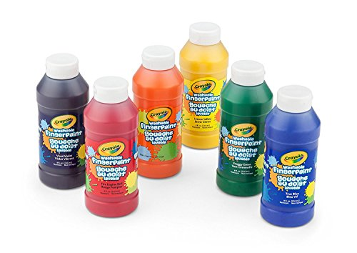 (Crayola Washable FingerPaints, 6 Count 8 oz., Stocking Stuffers, Gifts for Kids, 4, 5, 6, 7)