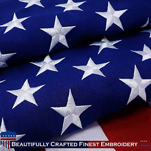 (G128 - American Flag   2.5x4 feet   Heavy Duty Spun Polyester 220GSM - Embroidered Stars, Sewn Stripes, Tough, Durable, Indoor/Outdoor, Vibrant Colors, Brass Grommets, Premium US USA Flag)
