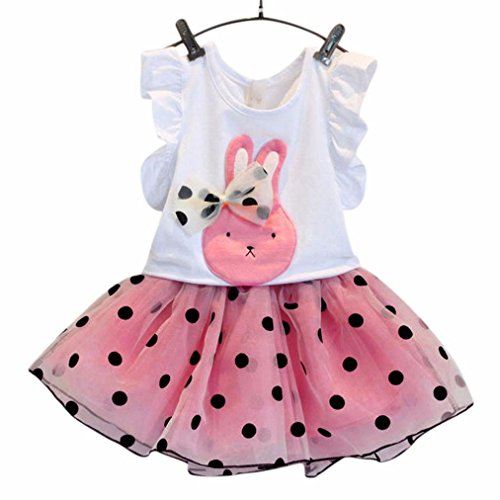 FEITONG Kids Girls Rabbit Bow Pattern Shirt Top Polka Dot Skirt (Age:2-3Y, Pink )