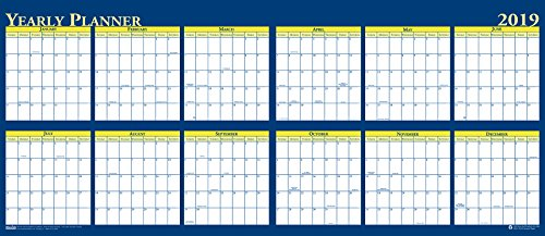 - House of Doolittle 2019 Laminated Wipe Off Wall Calendar, Reversible, 60 x 26 Inches, January - December (HOD3974-19)