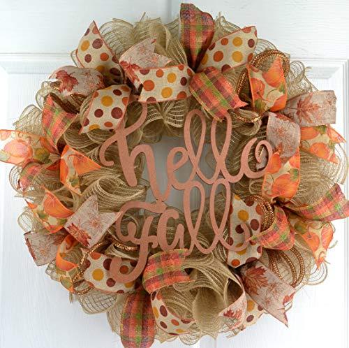 Hello Fall Welcome Autumn Thanksgiving Front Door Outdoor Mesh Wreath; Orange Green Jute Burlap
