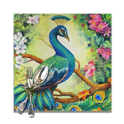 (Table Mats Proud Peacock Washable Placemats Set Of 6, Heat Insulation Placemats Anti-Skid Washable Table Mats,Placemats For Home Kitchen Dining Table-30x30)