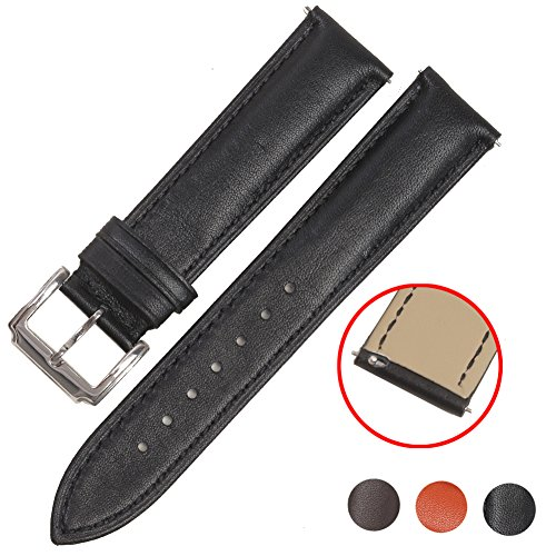 Quick Release Leather Watch Band,STYLELOVER Top Genuine Cowhide Replacement Leather Watch Strap 16mm 18mm 20mm 22mm 24mm(16mm,Black)