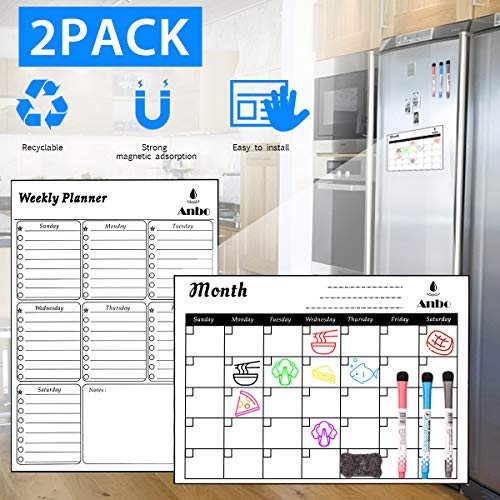 Magnetic Dry Erase Calendar for Refrigerator,Magnetic Planner&Menu,2 Pack,Perfect Size 13