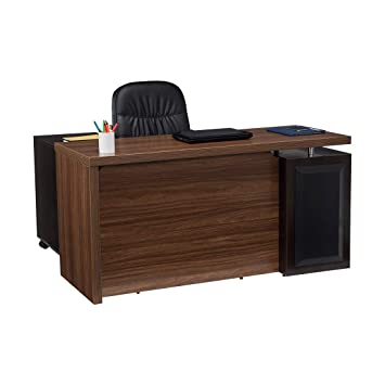 Durian Clint/B Office Table (Matte Finish, Brown)