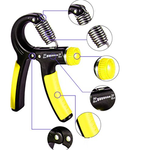 Hand Grip Strengthener - 20-90 lbs Adjustable Resistance Range - Hand Gripper Strength Exerciser - Non-Slip Handle for Forearm, Finger, and Hands Workout