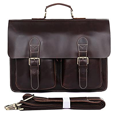"high-quality MuLier Men's Crazy Horse Leather Shoulder Briefcase, 14"" Laptop Bag Tote"