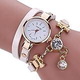 IEason Fashion Women's Ladies Faux Leather Rhinestone Analog Quartz Dress Wrist Watches (White)