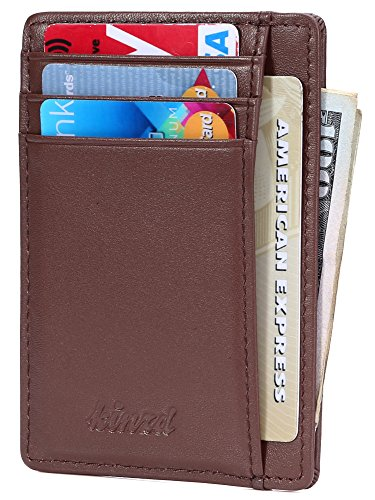 Slim Wallet RFID Front Pocket Wallet Minimalist Secure Thin Credit Card Holder,Coffee,One Size