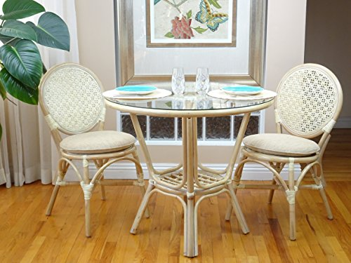 3 Pc Rattan Wicker Dining Set Round Table Glass Top+2 Denver Side Chairs. White Wash
