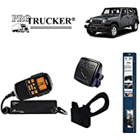 Pro Trucker 2007-Present Jeep JK CB Radio Complete Kit with Uniden Handheld CB Radio, 3 Mopar Antenna, Mount, Coax, Speaker, and Grab Bar Mount