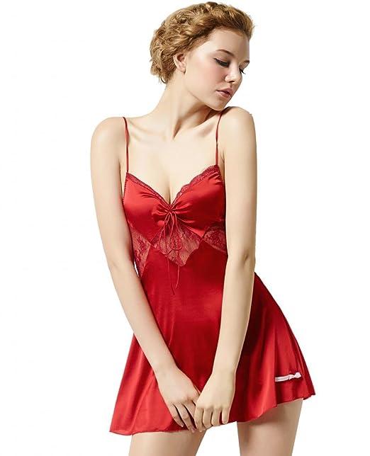 sangluo mujeres de seda pura Essentials encaje lencería picardías pijamas albornoz camisón Rojo rosso M