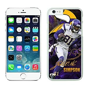 NFL iPhone 6 4.7 Inches Case Minnesota Vikings Jerome Simpson White iPhone 6 Cell Phone Case HGEROVFD2509