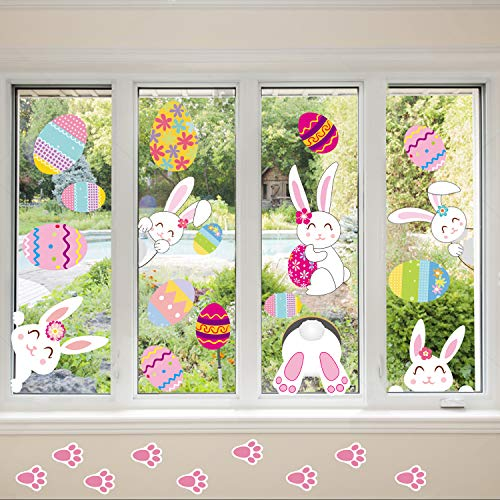 Ocosy 74Pack Easter Stickers Easter Decorations Easter Eggs Easter Window Clings Bunny Paw Decals Easter Wall Door Floor Décor(Easter Stickers2) -