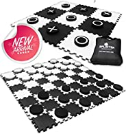 2-in-1 Reversible Giant Checkers & Tic Tac Toe Game ( 4ft x 4ft ) - 100% High Density EVA Foam Mat & P