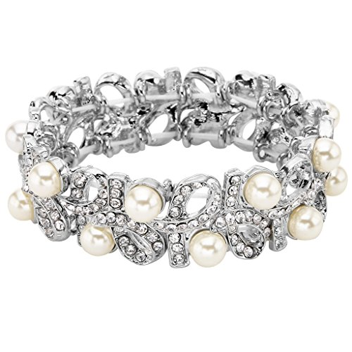 EVER FAITH Silver-Tone Austrian Crystal Cream Simulated Pearl Ribbon Knot Elastic Stretch Bracelet Clear (Bracelet Mother Of Pearl Elastic)