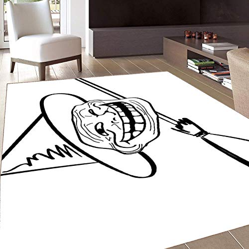 Rug,FloorMatRug,Humor,AreaRug,Halloween Spirit Themed Witch Guy Meme LOL Joy Spooky Avatar Artful Image,Home -