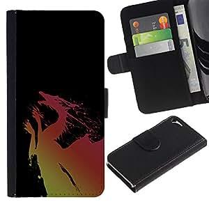 """Apple iPhone 5 / iPhone 5S , la tarjeta de Crédito Slots PU Funda de cuero Monedero caso cubierta de piel ("""" Dragon Yellow Pink Flying Fairytale Drawing Art"""")"""