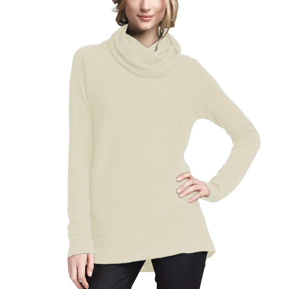 Parisbonbon Women's 100% Cashmere Cowl Neck Sweater Color Ivory Size L