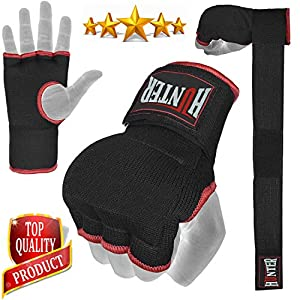 Hunter Padded Inner Gloves Training Gel Elastic Hand Wraps for Boxing Gloves Quick Wraps Men & Women Kickboxing Muay Thai MMA Bandages Fist Knuckle Wrist Wrap Protector Handwraps (Pair) 6