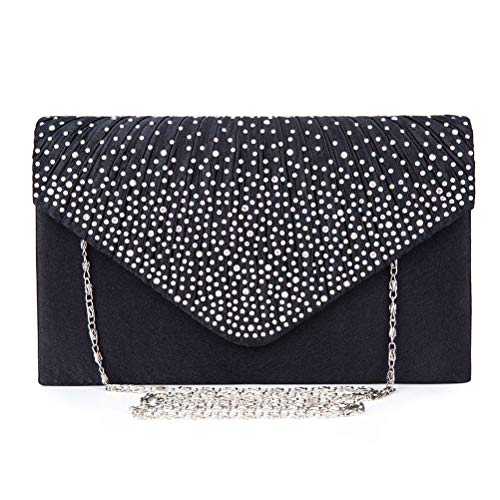 Femmes Soirée De Mariage en Sacs Purse Clutch Enveloppe Satin Gshe À Bag Sacs Embrayages black Main Sac HxBwI5n