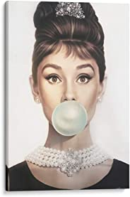 Cuadro decorativo de canvas (lienzo), Audrey Hepburn bubblegum - Fashionista & Girl power & Íconos y celebridades, montado e