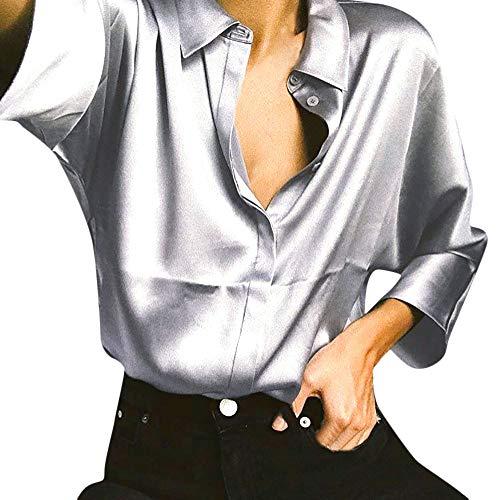 Metallic Silk Blouse - AKwell Womens Metallic Silver Long Sleeve Satin Silk Work Button Down Blouse Shirt with Cuffs Tops T Shirt
