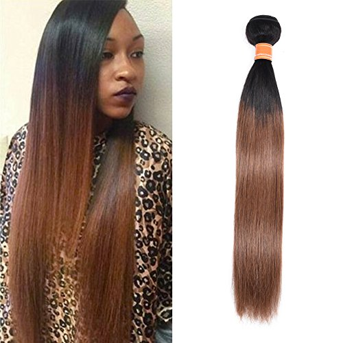 Mother's Day Gifts Ombre Brazilian Straight Hair Bundles 2 Tone Remy Human Hair Extensions 1b/30 Natural Black To Auburn Brown Weave Weft Bundles 100g/pack For Women 12