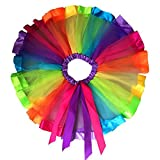 Software : Sinzelimin Layered Ballet Tulle Rainbow Tutu Skirt for Little Girls Dress Up with Colorful Bowknot (S, Multicolor)