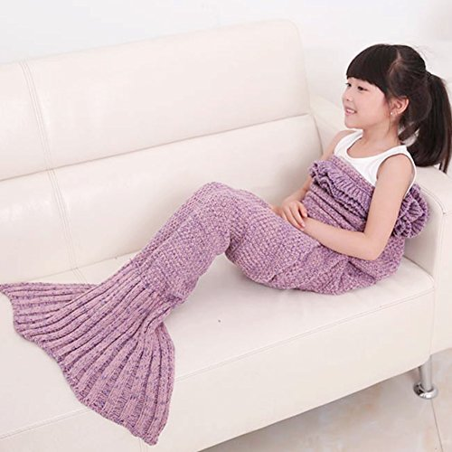 ILSELL Handcrafted Mermaid Tail Blanket, Crochet Knitting Little Sofa Blanket Kids Soft Rug Sleeping Bag (Kids, Pale -