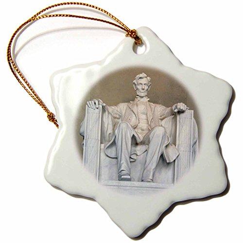 3dRose orn_88995_1 Abraham Lincoln Memorial Washington DC Raymond Klass Snowflake Decorative Hanging Ornament, Porcelain, 3-Inch