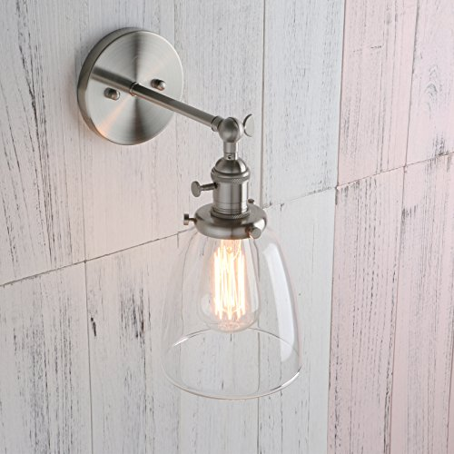 Permo Industrial Vintage Single Sconce With Oval Cone Clear Glass Shade 1-light Wall Sconce Wall Lamp (Brushed) by Permo (Image #5)