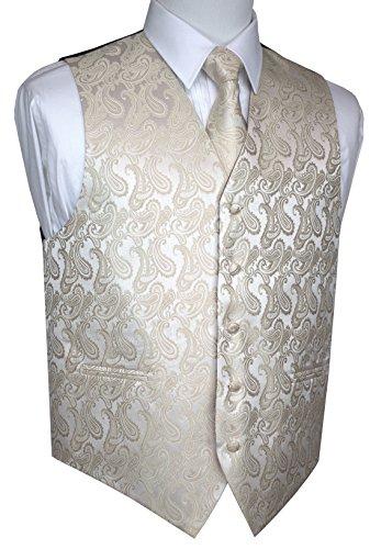 Champagne Tuxedo Vest - Brand Q Men's Formal Prom Wedding Tuxedo Vest, Tie & Hankie -Champagne Paisley-L