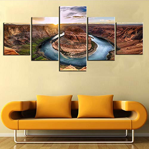 5 Piece Canvas Wall Art Sunset Moment at Horseshoe Bend Grand Canyon National Park Paintings Picture Modern Artwork Home Decor for Living Room Giclee Framed Stretched Ready to Hang(50