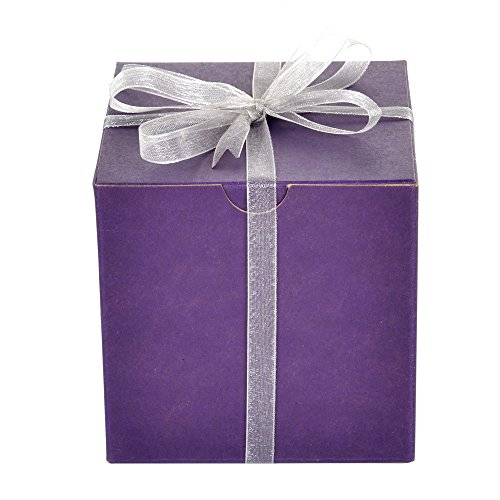 Mypresentforyou Purple Gift Boxes with Silver Organza Ribbon, Set of 10, - Watch Glass Online The House
