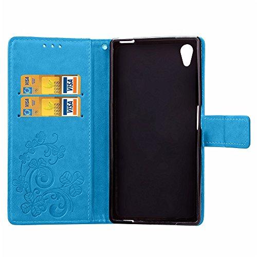 SRY-Funda simple Funda Sony Xperia X, caja con estampado de flores Caja suerte con estampado de tréboles, color sólido Caja superior con tapa TPU + PU con tapa giratoria para Sony Xperia X Conveniente Blue