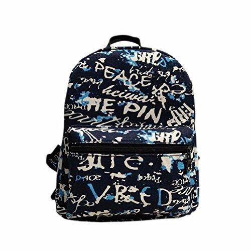 Clode® Las mujeres mochila lona bolsa de impresión de la escuela mochilas bandoleras Azul
