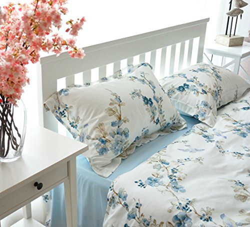 Set Blossom Bedding - Garden Chinoiserie Floral Duvet Quilt Cover Asian Porcelain Style Tree Blossom and Birds Blue and White Watercolor Pattern 300tc Cotton Percale 3pc Bedding Set (Queen, Blue)