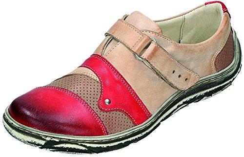 MICCOS Shoes Halbschuhe D.Klettschuh bordo/beige