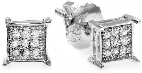 0.06 Carat (ctw) Round Diamond Square Shape Men's Hip Hop Iced Stud Earrings