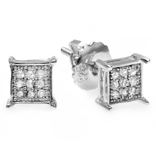 0.06 Carat (ctw) Sterling Silver Round Diamond Square Shape Men's Hip Hop Iced Stud (Diamond Stud Square Earrings)