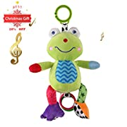 Car Seat Toy with Sweet Music, Cozime Stroller Baby Activity Bed Hanging Toys (Frog)