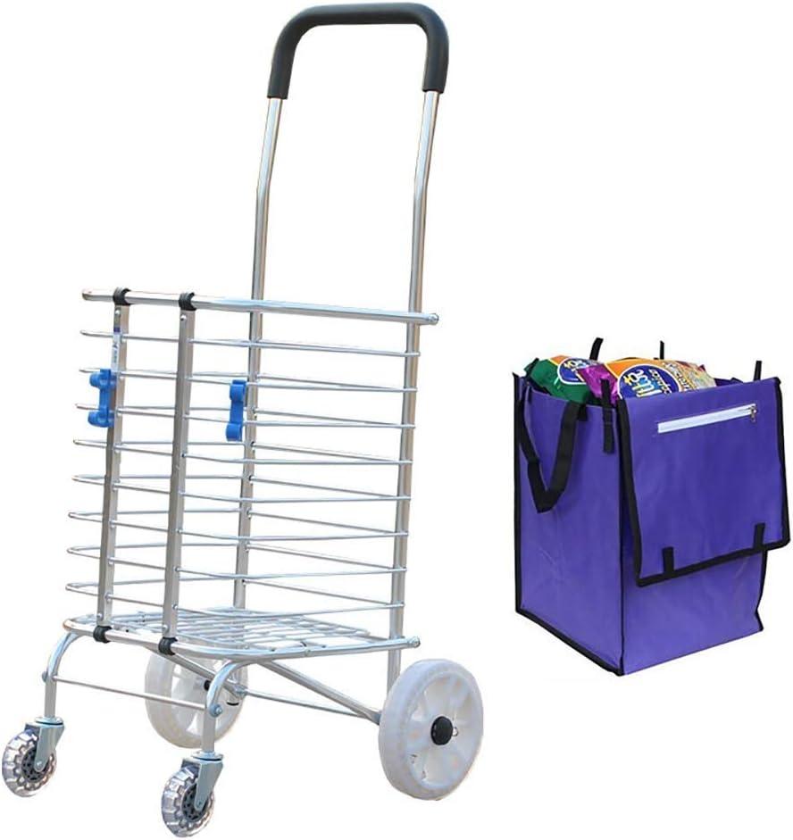 TONGSH コンパクトな折りたたみ食料品の小さい買物車 - 調節可能な高さのハンドル、簡単に折りたたみ式、回転式回転車輪が付いている軽量の実用的なカート (Color : B)