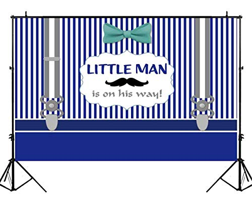 Funnytree 7X5ft Vinyl Little Man Themed Backdrop Navy Blue Stripes Bowtie Mustache Beard Photography Background Gentleman Boy On The Way 1st Birthday Party Banner Baby Shower Photo Booth Studio Props