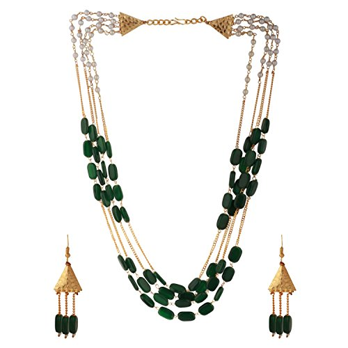 Efulgenz Indian Multi Layered Bollywood Green Faux Emerald Pearl Beads Wedding Bridal Necklace Earrings Jewelry Set